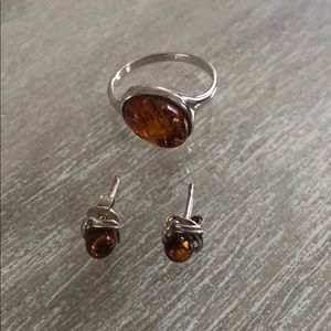 Natural amber & sterling silver ring & earring set